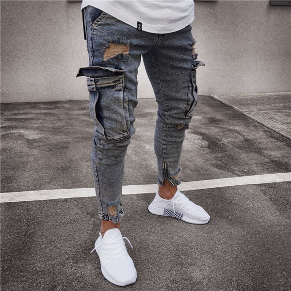 1adc3e9669f Multi pocket Fashion Men Ripped Skinny Jeans Destroyed Frayed Slim Fit –  MASTYLESEXPRESS.COM