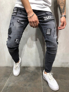 New Fashion 2019 Autumn Winter Men S Hole Embroidery Jeans Gray Hip