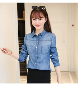 4e7c7c6991 New 2018 Spring Woman Denim Shirt Fashion Style Long Sleeve Casual Shirts  Women retro Colors Blouses