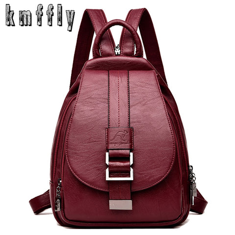 New 2018 Women Leather Backpacks Vintage Shoulder Bag Winter Female Backpack Ladies Travel Backpack Mochila School Bags For Girl