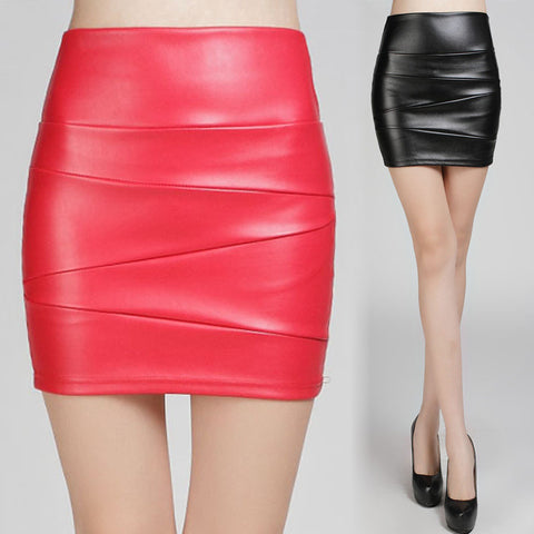 New Solid Color Mini Red Pink Black PU Pencil Skirt Women 2018 High Waist OL Office Lady Bodycon Sexy Leather Skirts Autumn