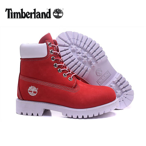 Original TIMBERLAND Men's 10061 Red White Winter Boots,Man Male Genuine Leather Ankle Anti-Slip Outdoor Warm Shoes 40-45