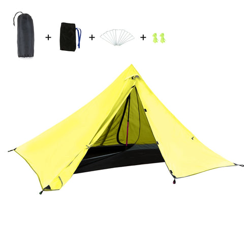 Outdoor Camping Tent 1-2 People Double Layer Waterproof Beach Tent Sunshade Awning Single Travel Hiking Fishing Backpacking Tent