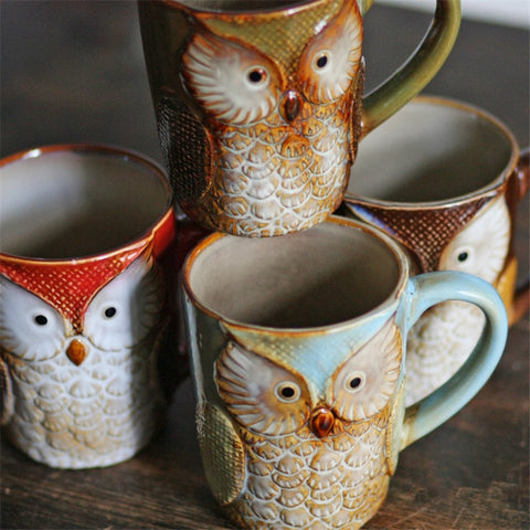 Owl Mugs Coffee Milk Cups Creative Cute Cup Animal Morning Coffee Mug Ceramic Tea Cups Breakfast Drinkware Christmas Gifts