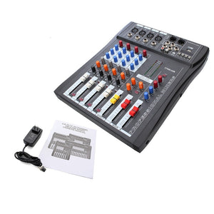 Professional Karaoke system 4 Channel Digital Sound DJ Mixer Audio Mixing Microphone Amplifier Sound Console Mixer 110-220V