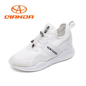 QIANDQA Breathable Running Shoes For Women Summer Mesh Sneakers Increase Height Soft Wear-resistant Sport Shoes Woman