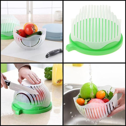 Quick Salad Cutter Bowl Kitchen Gadget Vegetable Fruits Slicer Chopper Washer and Cutter Practical 60 Seconds Easy to Make Salad