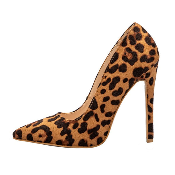 Road Track Women Pumps Spring Autumn Pointed Toe Flock Leopard Heeled Party Shoes Sexy High Heels Ladies Pumps XWC1722-5