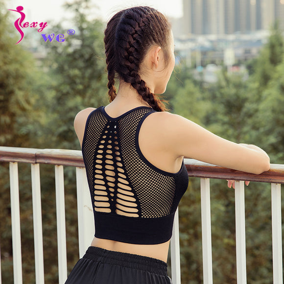 SEXYWG Top Women Seamless Sports Bra Running Yoga Brassiere Workout Gym Fitness Sport Bra High Impact Padded Underwear Vest Tank