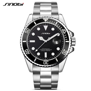 SINOBI Casual Men Watch 2017 Waterproof Date Stainless Steel Band Luxury Mans Sports Quartz Watches Golden relogio masculino