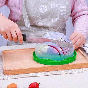 Salad Cutter Bowl 60 Second Quick Vegetable Cutter Bowl Salad Maker Healthy Fresh Salads Easy Maker Chopper Vegetable Washer