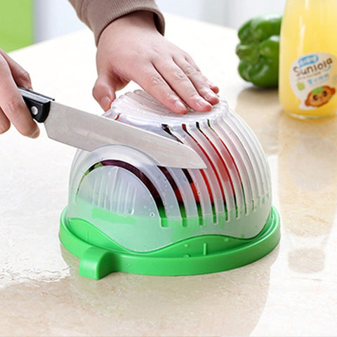 Salad Cutter Bowl Kitchen Gadget Vegetable Chopper Washer And Cutter Quick Salad Maker Chopper Kitchen Tool DA