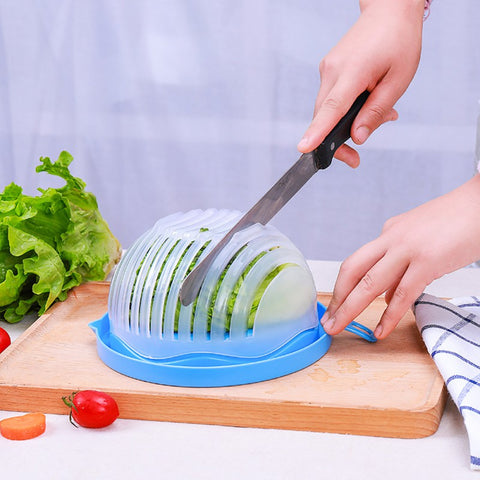 Salad Cutter Bowl Kitchen Gadget Vegetable Chopper Washer And Cutter Quick Salad Maker Chopper Kitchen tool