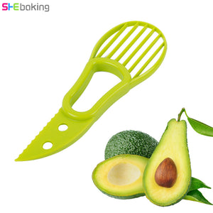 Shebaking 1pc Avocado Slicer Plastic Fruit Cutter Pulp Separator Dug Spoon Knife Avocado Fruit Vegetable Peeler Kitchen Tool