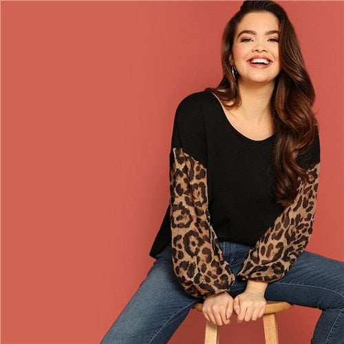 3b1eea52ba4 Sheinside Black Plus Size Leopard Print Sleeve Mixed Media Tee Shirt F –  MASTYLESEXPRESS.COM