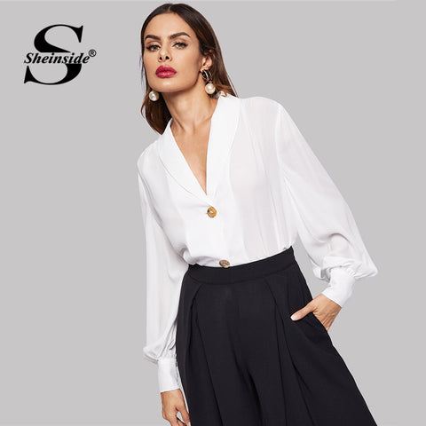 Sheinside Elegant White Blouse Women Button Front Bishop Sleeve Solid Top Ladies Work Shirt V Neck Womens Tops and Blouses