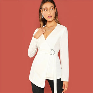 dd6f9b8d686 Sheinside White Self Belted Asymmetrical Hem Ladies Wrap Blazer Womens  Suits Elegant V Neck Outerwear Women
