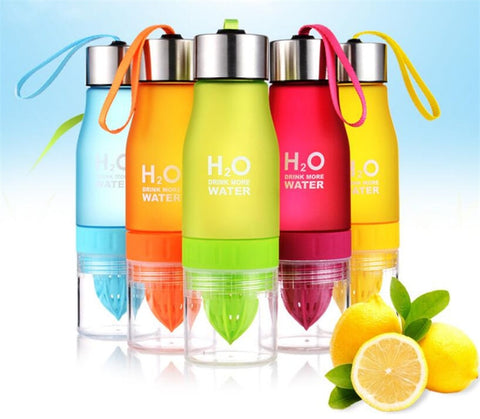 Sport Drinking Water 650ml H2O Lemon Juice Fruit Water Bottle Infuser Drinkware Outdoor My Shaker Bottle Drink Bottle.
