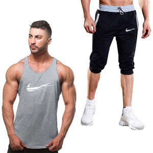 Sportsuits Set Men Classic Brand Fitness Suits Summer 2PC Top Short Mens Stand Collar Fashion 2 Pieces Tank Top Shorts Tracksuit