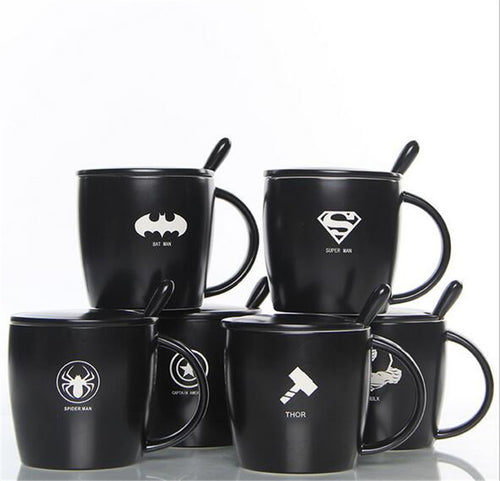 The Avengers Black Lemon Tea Coffee Mug With Spoon Superman Spiderman Batman Hulk Thor Mugs Ceramic Coffee Mugs Drinkware
