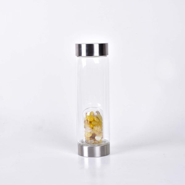 The most popular natural yellow agate crystal tumble gravel crystal glass bottle for gift