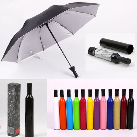 Ultraviolet-proof Wine Bottle Shape Personalized Rainy Umbrellas Manual  Beach Parasol Waterproof Sunshade Folding Umbrella