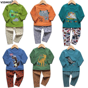 VIDMID boys pajamas clothing sets for boy long sleeve t-shirts pants kids cotton children's pjs Dinosaur  underwear set 4049 01