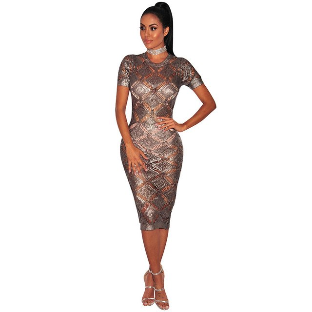 2aa52b9390e ... Vefinear 2018 Latest Sexy Ladies Sweater Gold Hollow Out Dress Knitted  Midi Club Party Dress Bodycon ...