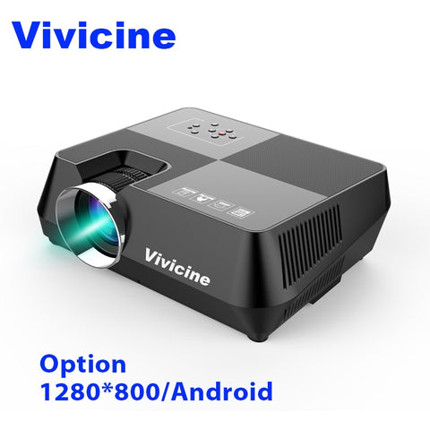 Vivicine 720P HD Projector, Optional Android WIFI Bluetooth HDMI USB PC Mini LED Proyector Handheld Movie Beamer for Video games