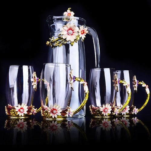 Water Bottle Set Creative Enamel Water Cup Kettle Set Flower Tea Cup Juice Cup Crystal Gass High Grade Water Bottle Exquisite
