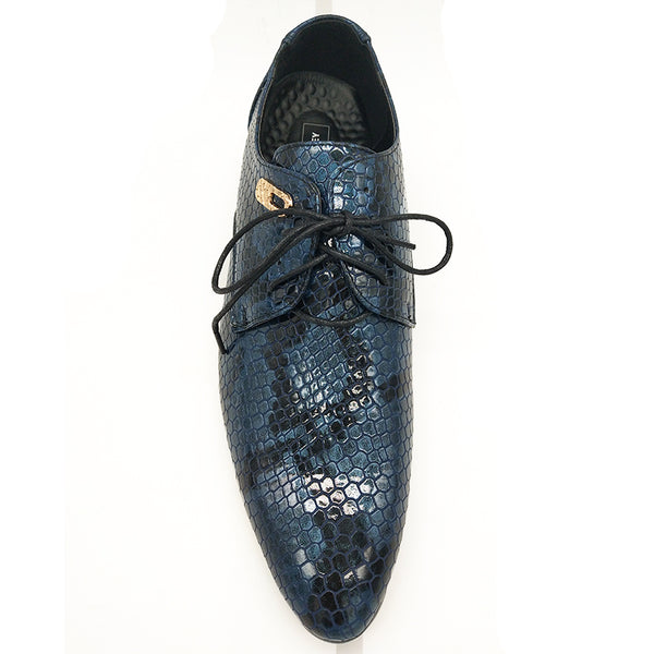 New Men Snake Leather Oxford Lace Up  Business Shoes