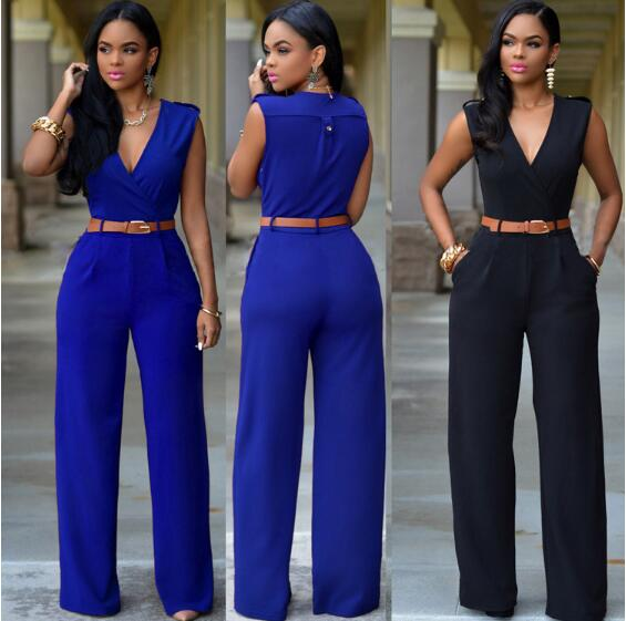Women Jumpsuit Long Pants Rompers Sleeveless V-neck 2018 Summer Wide Leg Pants Jumpsuirt With Belt Sexy Club Party Overalls