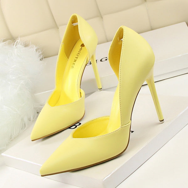 Women Pumps Fashion High Heels Shoes Black Pink Yellow Shoes Women bridal Wedding Shoes Ladies