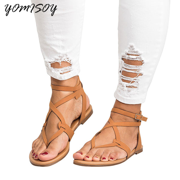 2018 Shoes Woman Bandage Summer Female Casual Low Heels Ankle Strap Women Sandals - MASTYLES ONLINE EXPRESS