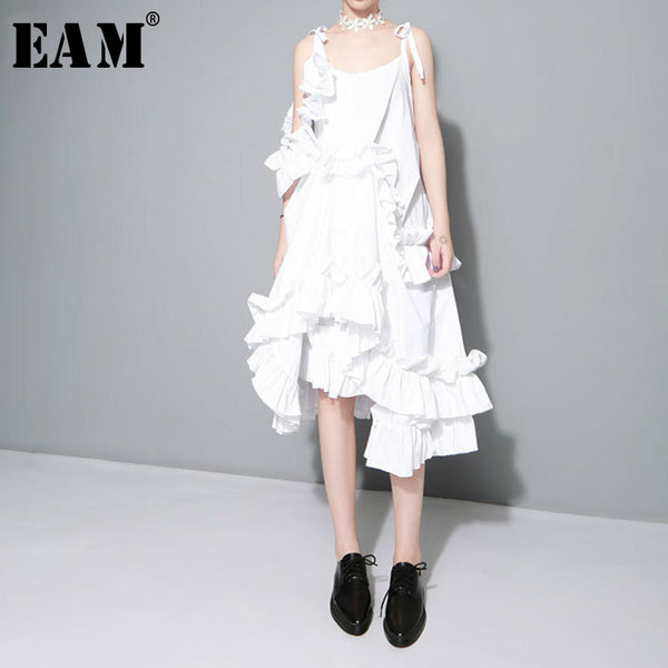 2018 New Multilayer Ruffles Solid Color Loose Fashion Women Dress