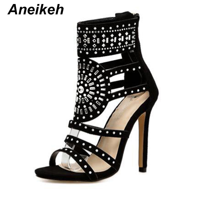 Aneikeh Women Fashion Open Toe Rhinestone Design High Heel Sandals Crystal Ankle Wrap Glitter Diamond Gladiator Black Size 35-40 - MASTYLES ONLINE EXPRESS