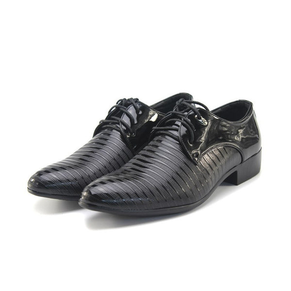 2018 New Fashion Men's Lace-Up Oxfords Dress Shoes Mens PU Leather Business Office Wedding Flats Man Casual Party Driving Shoes - MASTYLES ONLINE EXPRESS