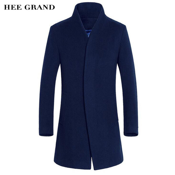 HEE GRAND Men's Wool Coat Hot Sale Warm Fashion Autumn Winter Slim Stand Collar Casual Jacket Manteau Homme M-3XL Size MWN206