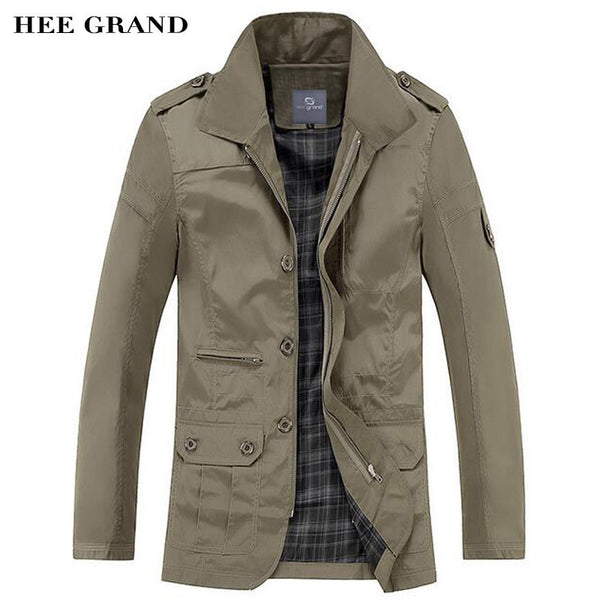 HEE GRAND Men Casual Blends Regular Length Turn-down Collar Spring Autumn Solid Color Business Outwear Plus Size M-5XL MWF340