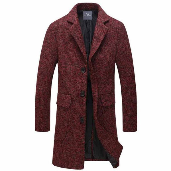 HEE GRAND Men Long Stretch Blends Fashion Style New Arrival Turn-Down Collar Single Breasted Autumn Early Winter Coat MWN266