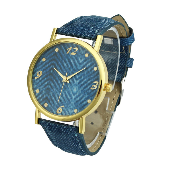 Women Men Denim Cloth Strap Bracelet Wrist Watch Unisex Analog Quartz