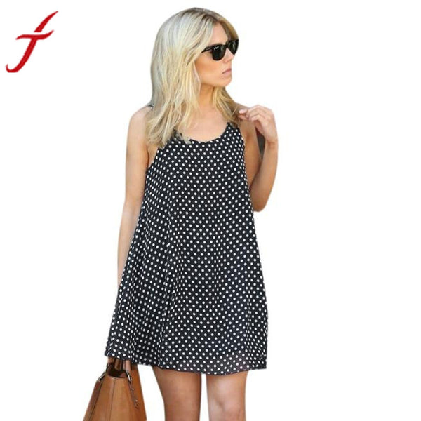 JECKSION 2016  Newest  Fashionable   Women Sexy Polka Dot Sleeveless Summer Beach Dress sundress summer