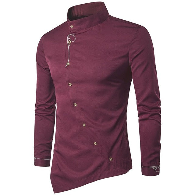 2018 Men Shirts Luxury Cotton Shirt Irregular Suit Stylish Dress Shirts Long Sleeve Tops Embroidery Male Clothings Plus Size 2XL - MASTYLES ONLINE EXPRESS