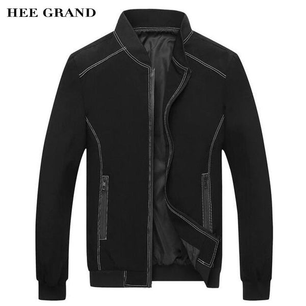 HEE GRAND Men Stylish Jackets 2018 New Spring Autumn Stand Collar Rib Sleeve Slim Fitted Thin Jackets Plus Size M-3XL MWJ2285