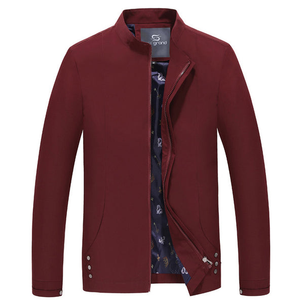 HEE GRAND Men's Casual Style Jacket 2018 Hot Sale Stand Collar Solid Color Spring Outwear Slim Zipper Coat  MWJ1943
