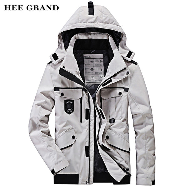 HEE GRAND Men Stylish Parkas 2018 New Solid Color Pockets Decoration With Detachable Hat Autumn Winter Coat Size M-4XL MWM1702
