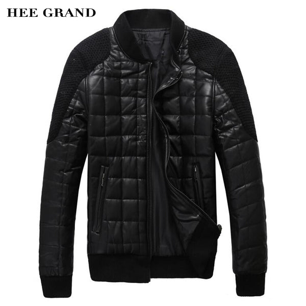 HEE GRAND PU Leather Jacket Men 2018  New Arrival Faux Leather Casual Stand Collar Patchwork Autumn Winter Jaqueta Black MWP193