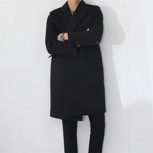 HEE GRAND Men Cashmere Coat 2018 Hot Sale Autumn Winter Trench Long Jacket Casual Jaqueta Masculino M-XXL 2 Colors MWN127