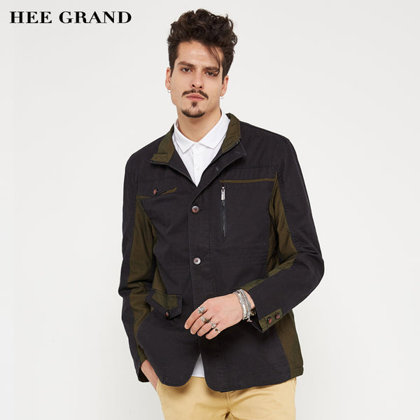 HEE GRAND Men's Casual Blends 2018 New Arrival Mid-long Style Coat Stand Collar Wide-waist Cotton Material 3 Colors MWF262
