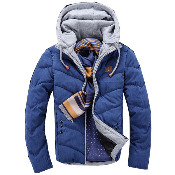 2018 Winter Fashion Casual Jacket Men Thicken Warm Candy Color Splicing Cotton Padded Puffer Coats Parkas Hooded - MASTYLES ONLINE EXPRESS